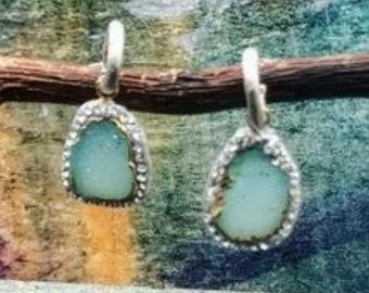Pave Druzy Earrings - Dangle Earrings - Delicate Earrings - Bridesmaid Gift - Polymer Clay Earrings - Bridal Jewelry - Something Blue