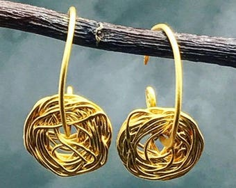 24K,gold on silver,wire earrings,wire swirl,hoop style,organically formed,gold earrings,gold jewelry,handmade earrings,bohemian jewelry