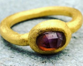 Tourmaline gold ring,gold ring,matte gold,rustic ring,rustic jewelry,24k gold,gold coated,faceted tourmaline,pink stone,stone ring,gem ring