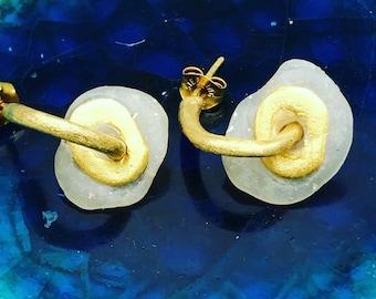 Circle Stud Earrings - Minimalist Earrings - Polymer Clay Earrings - 24k Gold Earrings - Statement Earrings - Hypoallergenic Earrings