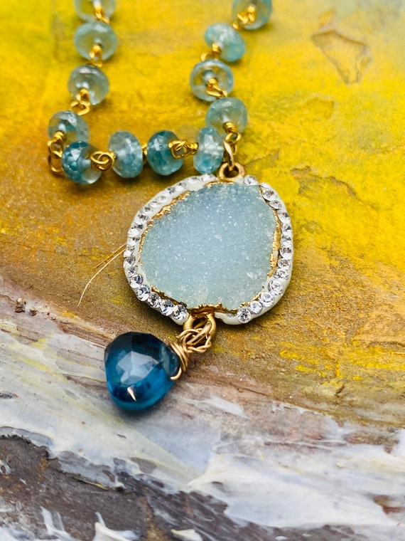 Aquamarine & London Topaz With Pave Druzy Necklace, Modern Statement Pendant Necklace, Anniversary Gift
