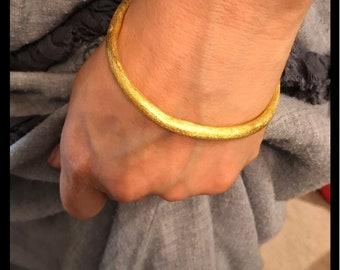 Organic formed rustic minimalist bangle in gold