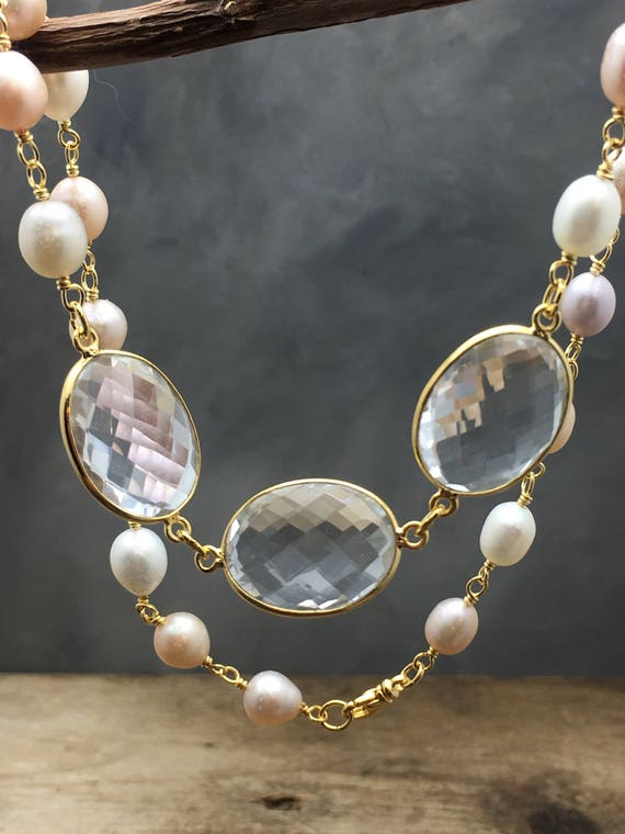 Pearl necklace,crystal quartz,gold fill,wire wrapped,pearl,pastel elements,translucent stone,clear gem jewelry,bridal necklace,transparent