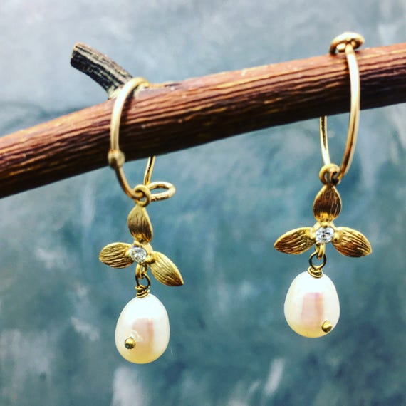 Pearl earrings , flower hoops, flowers and pearls, bridal jewelry, hoops, gold fill, handmade earrings, pave flowers, dangle earrings