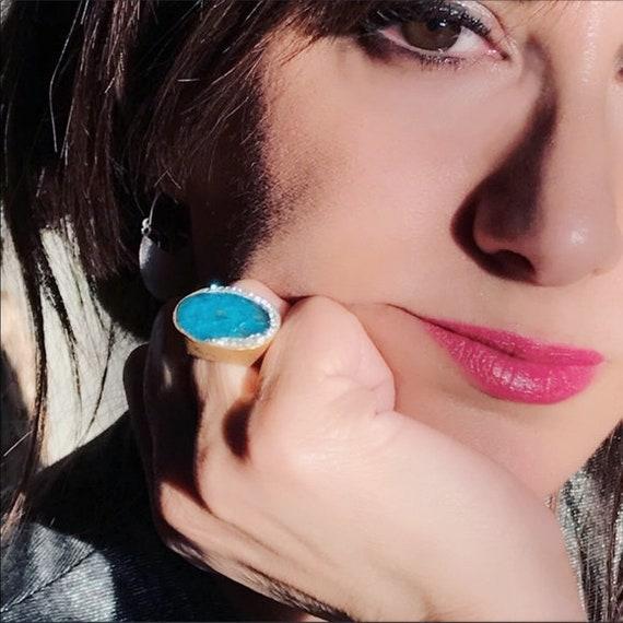 Handmade Ocean Blue Turmaline silver gold ring