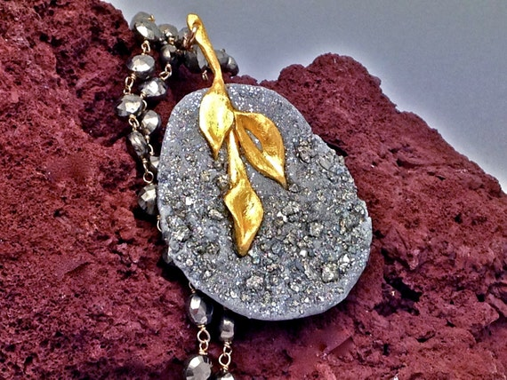 A day before winter Pyrite druzy pave elemnt with rustic 24k gold heavy coat elemnt on long Pyrite necklace,Matana Jewelry,Holiday gift