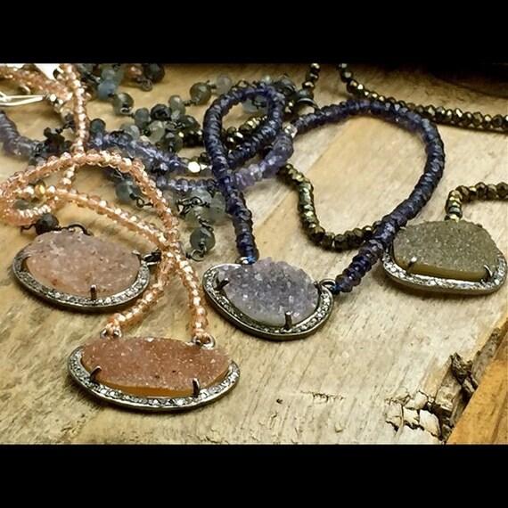 Host Pick Diamonds and Druzy necklace