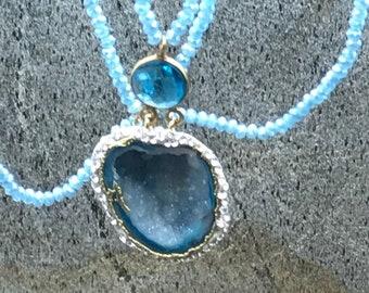 Handmade pavé blue druzy double row necklace