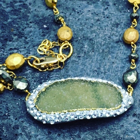 Sale Matana pave green druzy with Pyrite necklace