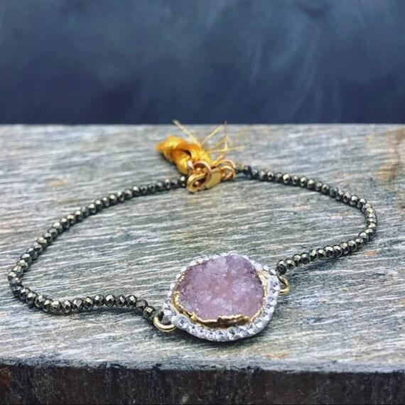 Handmade Amethyst Druzy Swarovski Pyrite bracelet