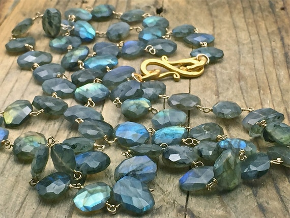 Flashy Labradorite necklace, long Labradorite necklace,Iridescent gemstone jewelry,gold filled wire wrapped stone necklace,handmade jewelry