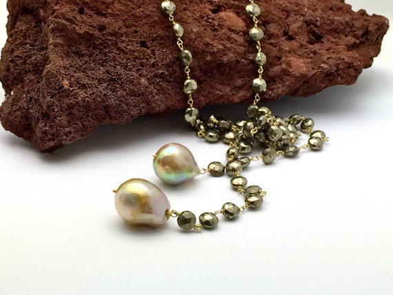 Long Lariat with stunning Baroque pearls hanging on a faceted Pyrite vermeil wire wrapped chain