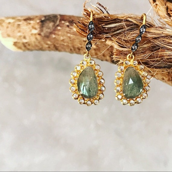 Labradorite earrings Topaz gold & black dangle