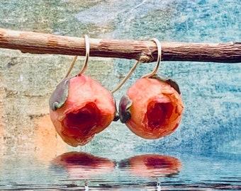 Handmade Peonies Earrings in blush and magenta