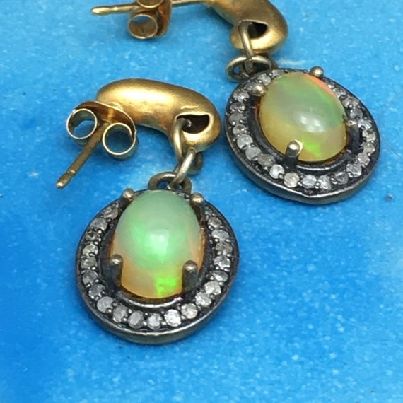 Fire opal and diamonds oval earrings
