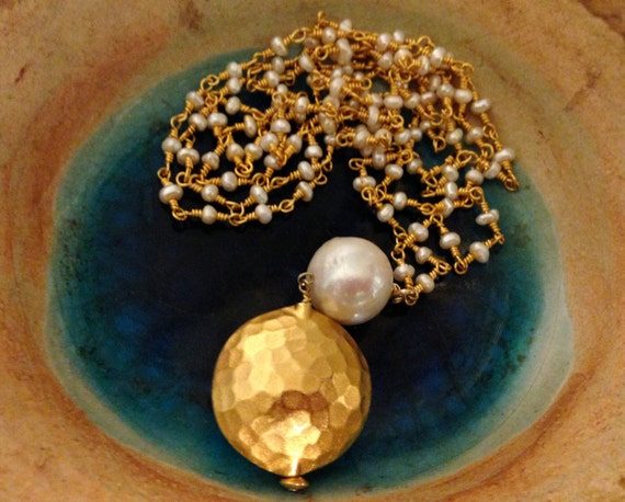 Long necklace with Pearls,24k gold over silver,Vermeil disc ,Baroque pearl pendent