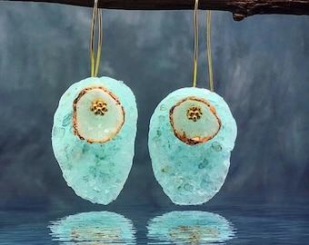 Blue Diamond Dust Earrings - Oval Earrings - Dangle Earrings -  Delicate Earrings - Bridesmaid Gift - Polymer Clay Earrings - Bridal Jewelry