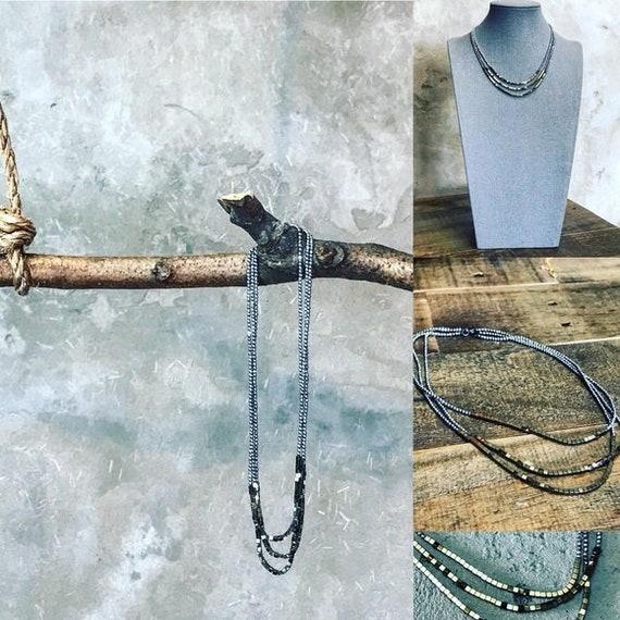 Matana Handmade 3 tier Pyrite Hematite necklace