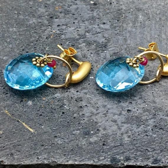 Super sale Swiss Topaz earrings with Rubies