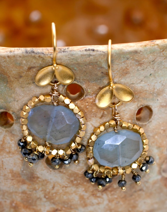 Moss Aquamarine earrings embalished  with gold vermeil beads,little wire wraped Pyrite faceted drops