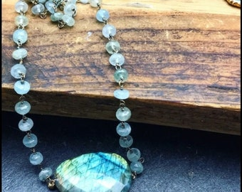 Labradorite Moss Aquamarine statement necklace