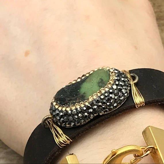 Pave Druzy,bohemian leather,wrap bracelet,gun metal crystals,raw ggems,druzy stone,pave druzy,14K gold fill,brown leather,handmade jewelry