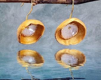 Gold Sparkle Earrings - Dangle Earrings - Bridal Earrings - Polymer Clay Earrings - Sparkly Earrings - Mother's Day Gift - Geometric Jewelry