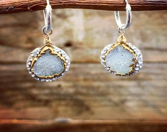 Pave earrings,druzy jewelry,sparkly earrings,silver stone,delicate jewels,swarovski crystals,sterling silver,teardrop shaped,unique earrings