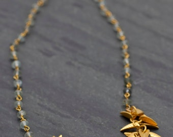 Moss Aquamarine necklace,Short organic gold leaves necklace,Botanical jewelry,Green aquamarine,gemstone necklace with gold leaf,Gift idea