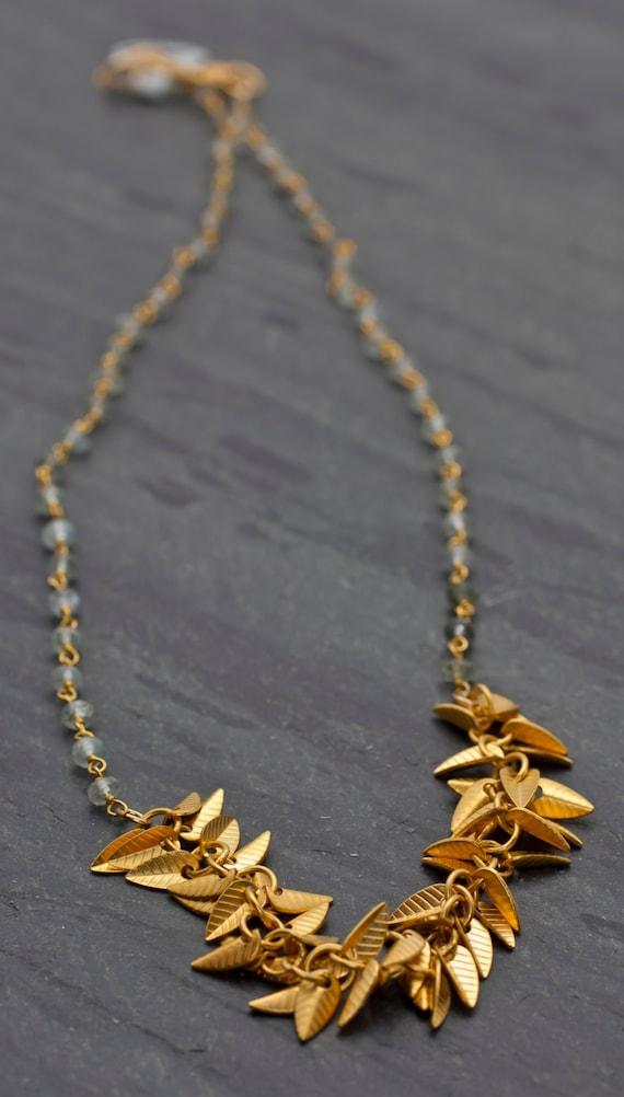 Moss Aquamarine necklace,Short organic gold leaves necklace,Botanical jewelry,Green aquamarine,gemstone necklace with gold leaf,Gift idea