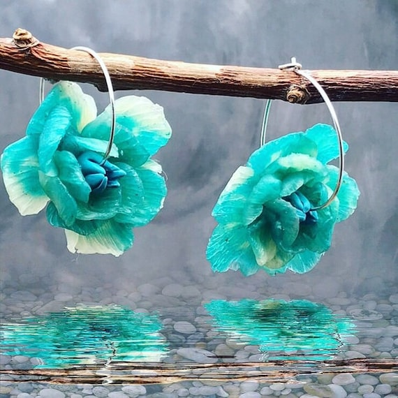 Peonies Statement Earrings - Polymer Clay Earrings - Sterling Silver - Flower Jewelry - Something Blue - Floral Jewelry - Bridesmaid Gift