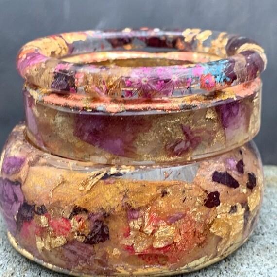 Handmade Set of 3 Bangle Bracelets, Gold Leaf Stacking Bracelets, Statement Bracelet Set, Gift for Her