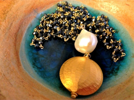 Long Black Spinel necklace/Lariat with Baroque pearl and rustic mat 24K over silver disc. Matana jewelry, gift idea