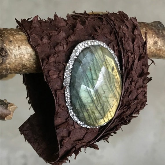 Bohemian Labradorite Leather wrap bracelet
