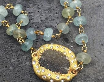 Moss Aquamarine and Druzy pave necklace