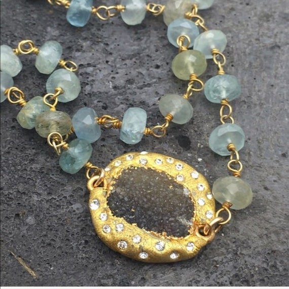 Moss Aquamarine and Druzy pave necklace