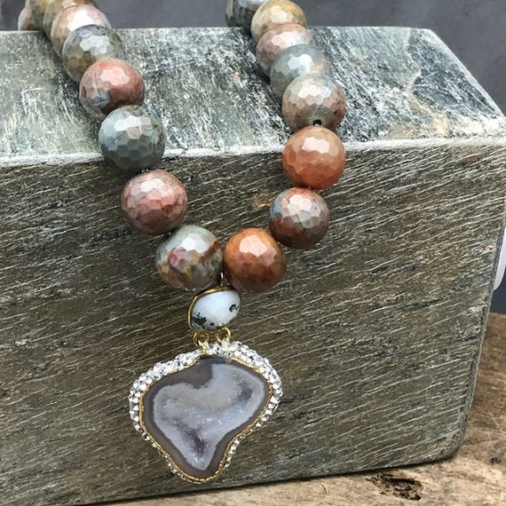 Handmade statement necklace with jasper and druzy