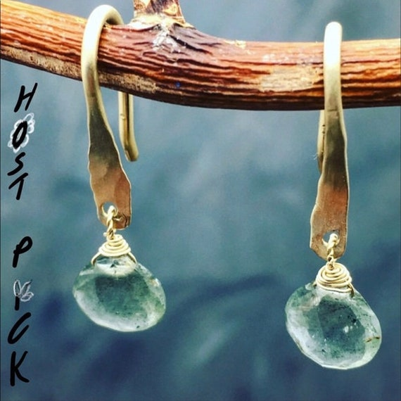 Handmade 14k Gold Moss Aquamarine earrings