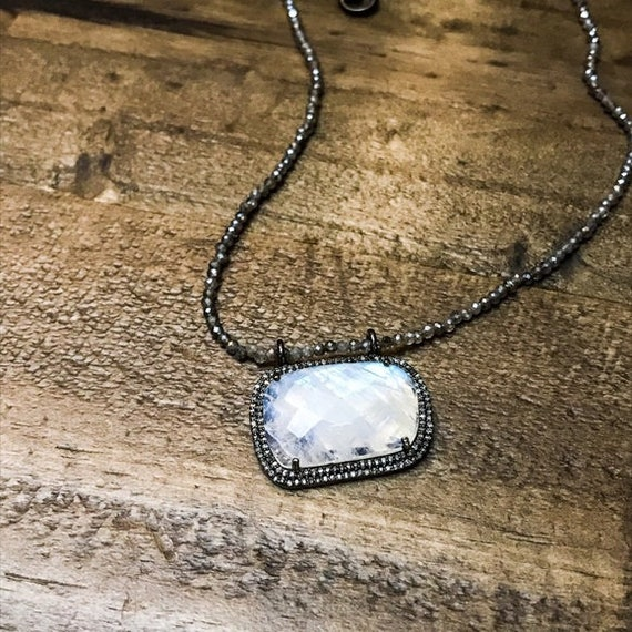 Diamond moonstone and labradorite necklace
