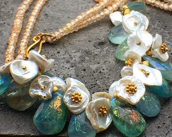 Flower Bouquet necklace, Pearl Flourite,blue Fluorite iridescent gemstones, blushed CZ's and vermeil,Romantic neckalce, Bridal necklace