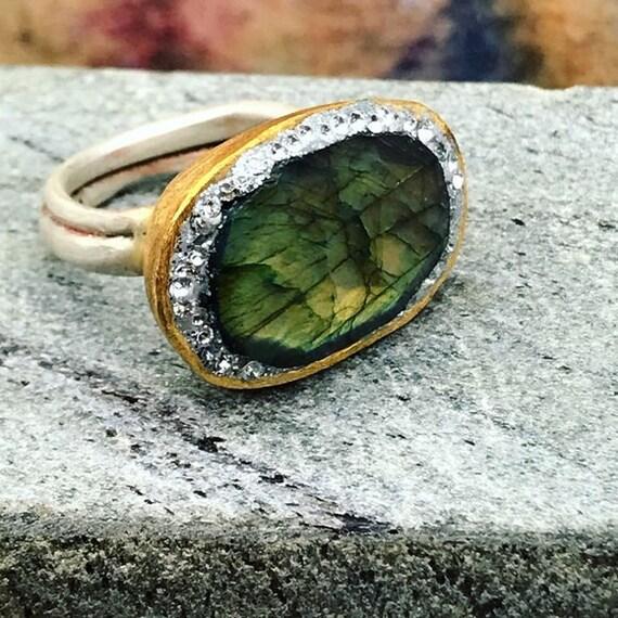 Matana Handmade Labradorite Statement Pavé Ring