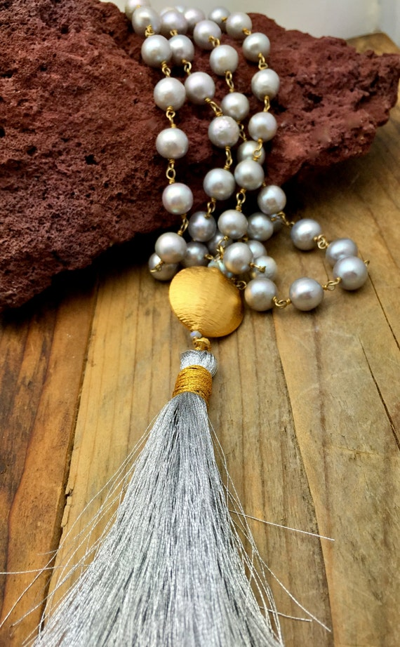 Silver Pearl necklace-,Rustic Pearl necklace, Tassel Pearl necklace, Long pearl necklace ,Bridal necklace- Freshwater pearls-Matana Jewelry