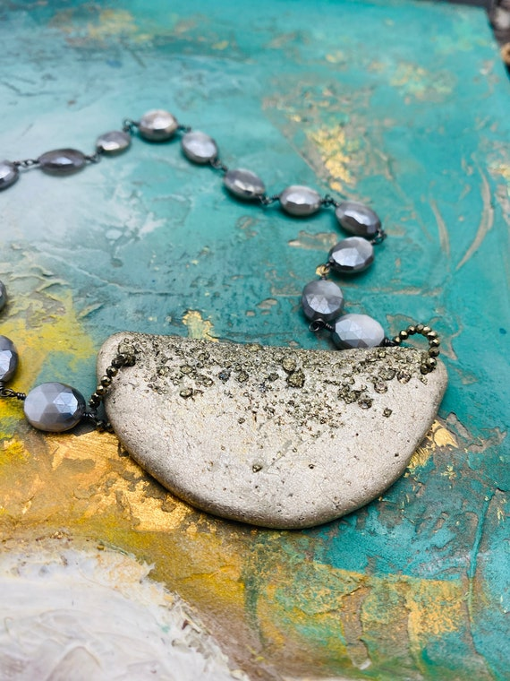 Half Circle Silver Foil Necklace, Crushed Druzy Pyrite Pendant, Moonstone Wire Wrapped Necklace