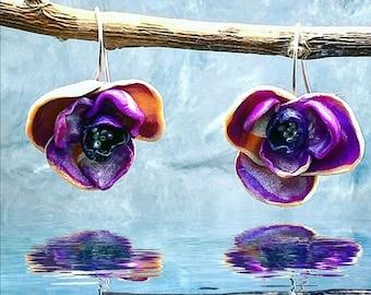 Orchid Dangle Earrings - Botanical Jewelry - Clay Earrings - Floral Jewelry - Freshwater Pearl Earrings - Flower Earrings