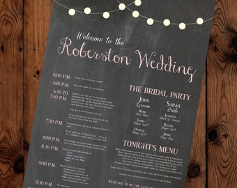 Chalkboard and Lights Wedding Schedule and Information Sign (Digital and Printed Options Available)