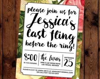 Last Fling Before The Ring Floral Calligraphy Bachelorette Party Invitation PDF Printable