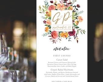 Floral Monogram Wedding or Rehearsal Dinner Menu Printable