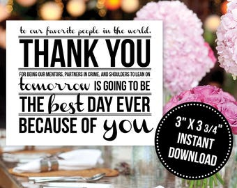 Rehearsal Dinner Thank You Place Card Printable Instant Download