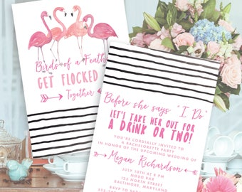 "Pink Flamingo ""Get Flocked Up"" Together Bachelorette Party Invitation Printable"