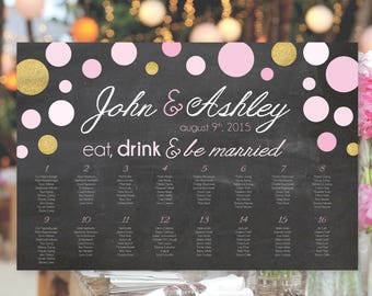 Eat, Drink, and Be Married Chalkboard Wedding Seating Chart (Digital and Printed Options Available)